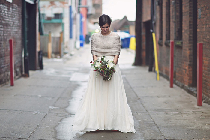 winter bride in wool stole
