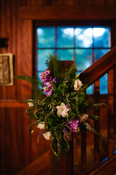 floral decoration on staircase