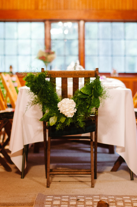 wreath on back of wedding chair