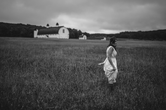 bride in farmer's field