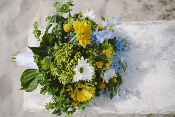 yellow, white, and blue wedding bouquet