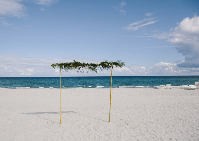 wedding altar set up on the beach