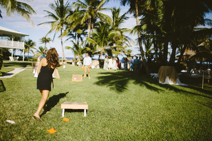 bean bag toss at wedding reception