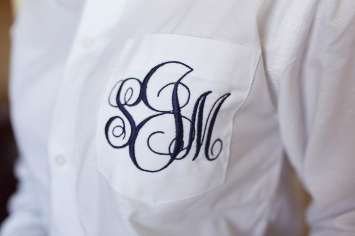 monogrammed groom's shirt