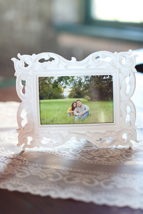 framed engagement photo at reception