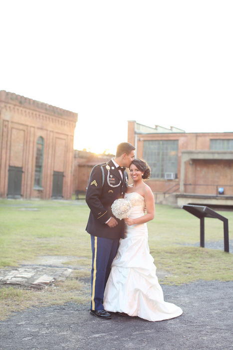 Savannah Railroad Museum wedding portrait