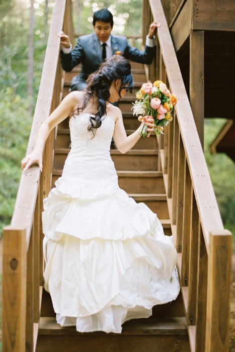 Bride and Groom on Stairs at Retreat in the Pines - Mineola Texas