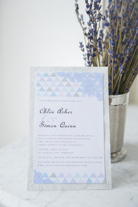 blue triangle wedding invitation