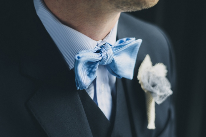 blue satin bow tie