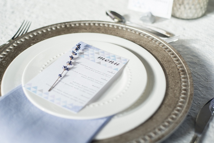 wedding menu with lavender
