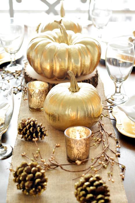 gold pumpkin centerpiece