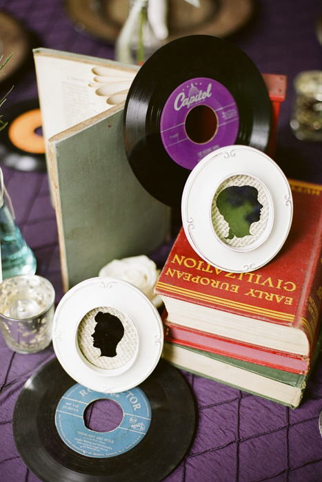 record and book centerpiece