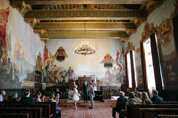 8 beautiful city hall and courthouse wedding venues for Mural room santa barbara courthouse