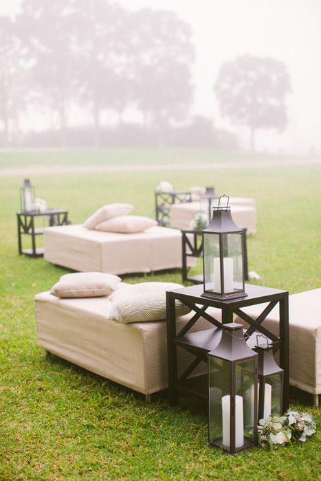 outdoor lounge with giant lanterns