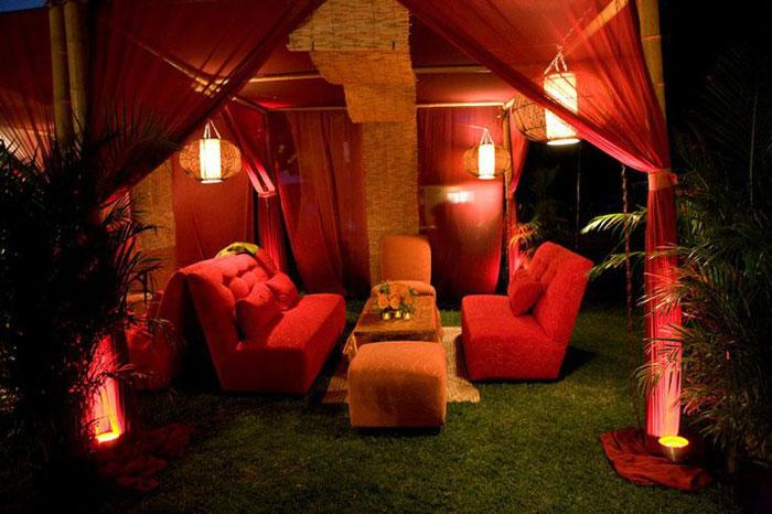 Một thiết kế phòng khách với lều tạo cảm giác thân thiện.