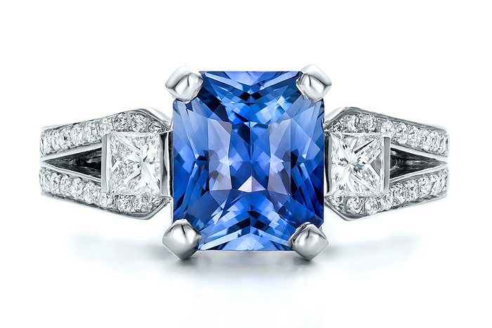 Custom Blue Sapphire and Diamond Engagement Ring