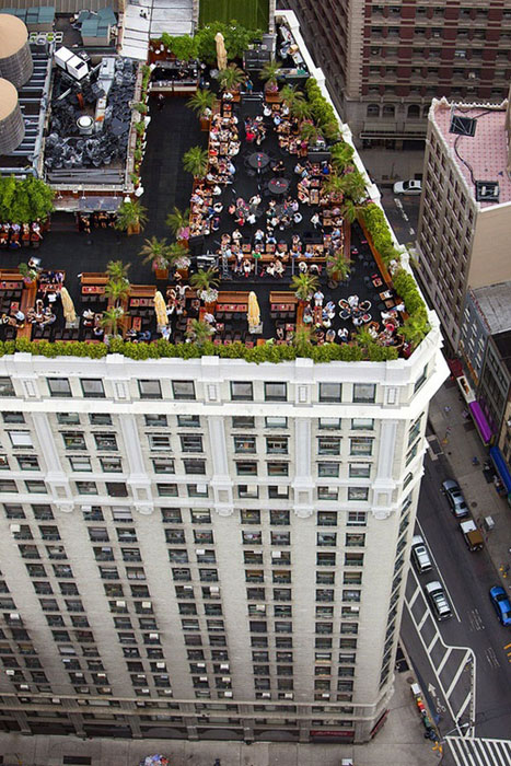 aerial shot of rooftop reception