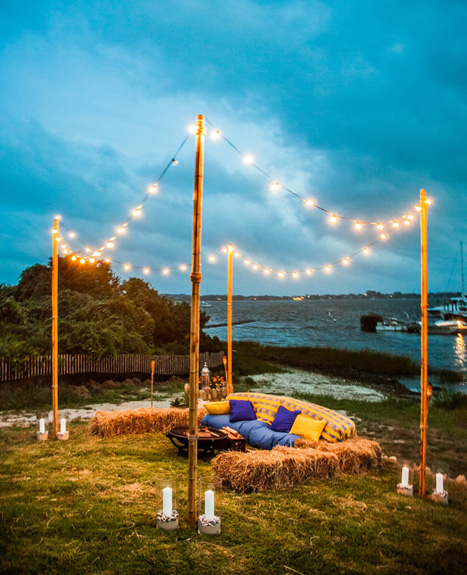 outdoor hay bale wedding lounge