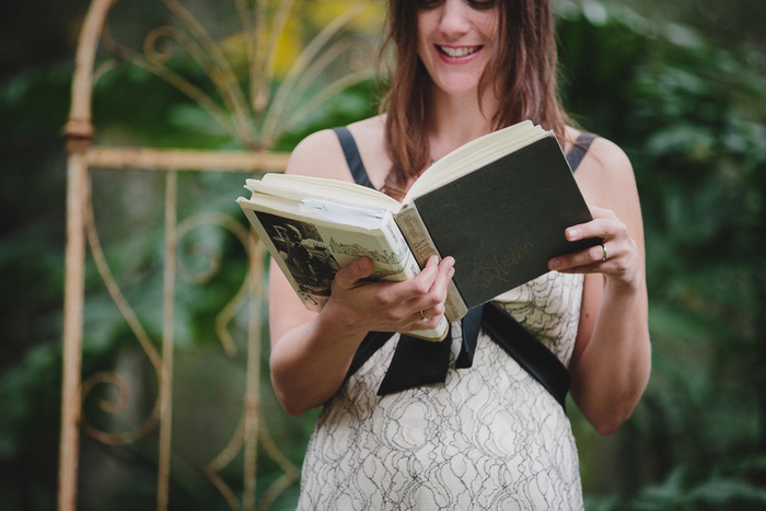 bride reading from book