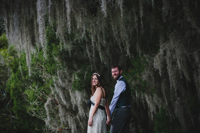 bride and groom in florida