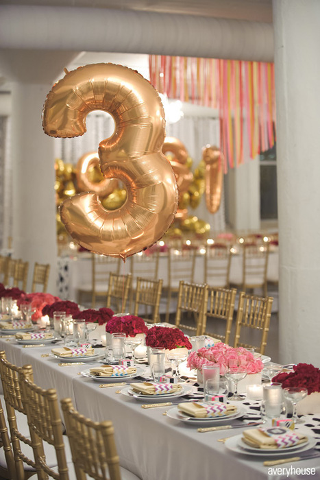 gold balloon table number