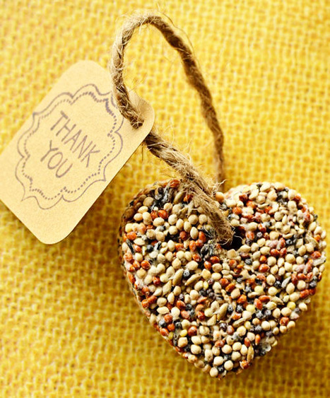 heart shaped bird seed favors