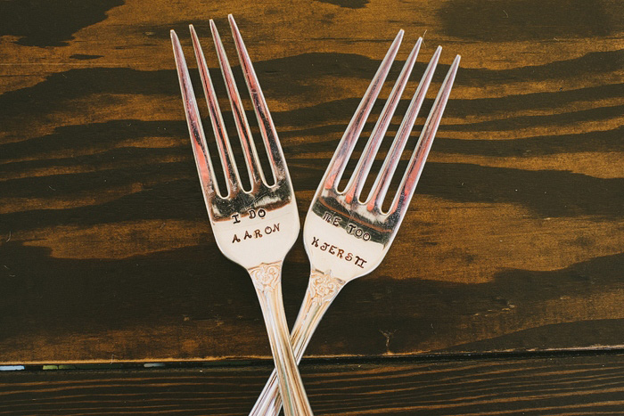stamped wedding forks