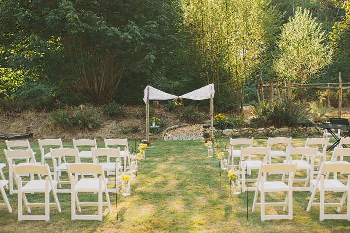 backyard wedding ceremony set-up