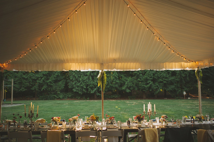 tented backyard wedding set-up
