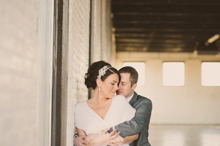 intimate loft wedding portrait