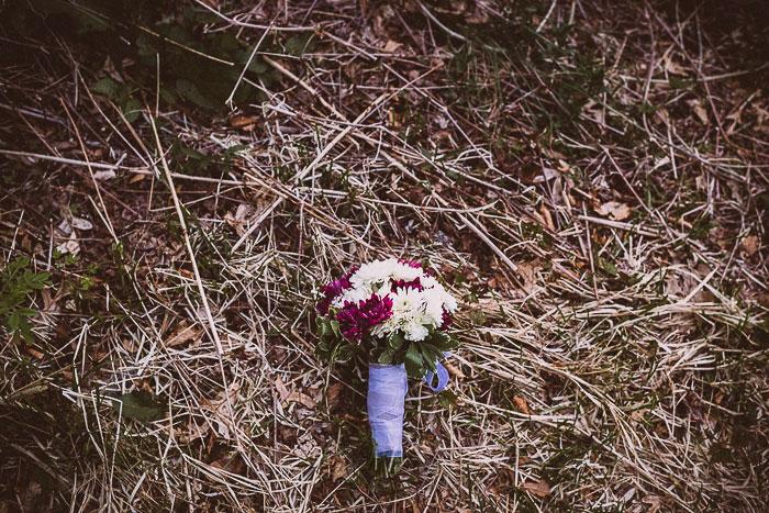 purple ribbon wrapped wedding bouquet