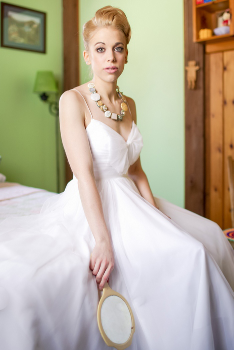 bride sitting on her bed