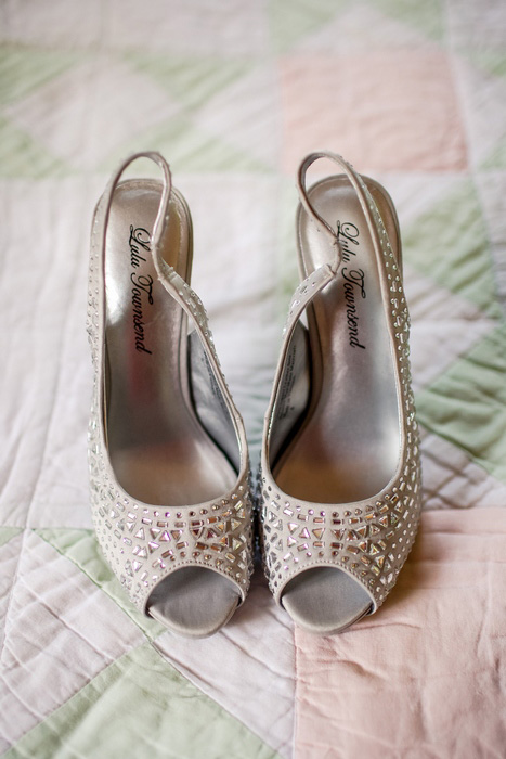 bride's shoes on quilt