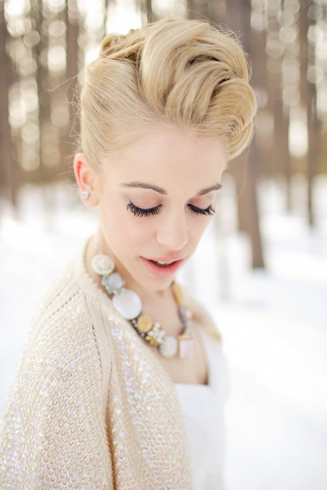 romantic winter bridal portrait