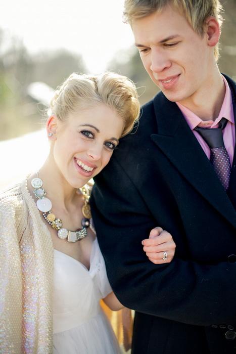 bride leaning her head on groom's shoulder