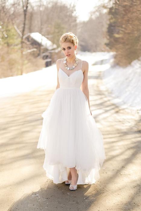 outdoor winter bridal portrait