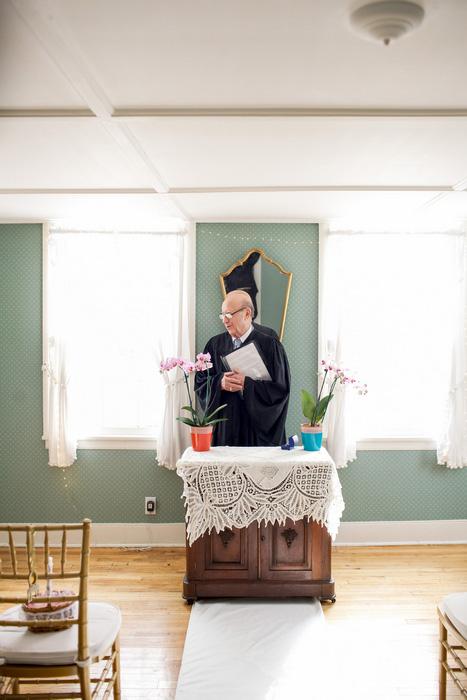 living room wedding ceremony set-up