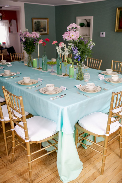 table set-up for wedding reception in apartment