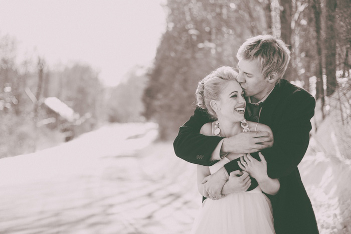 B+W outdoor winter wedding portrait