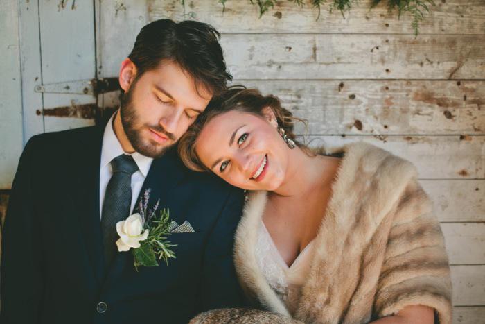 bride and groom porch portrait