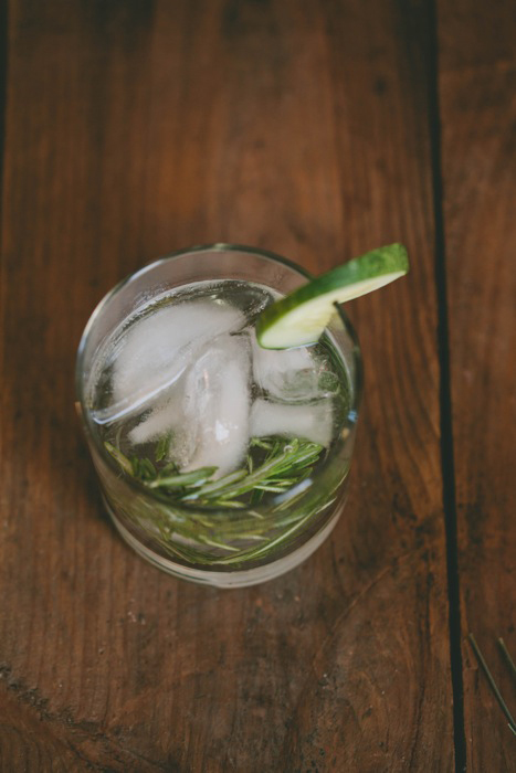 gin and cucumber rosemary cocktail