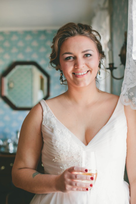 bride in v-neck wedding dress