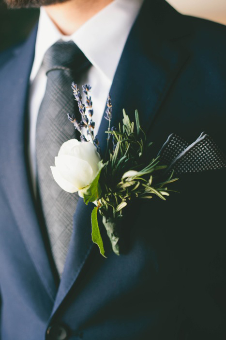 rose and lavender boutonniere