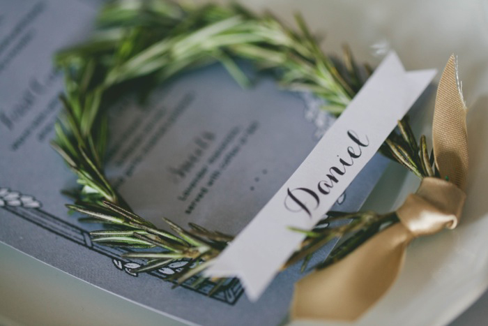 rosemary wreath place card