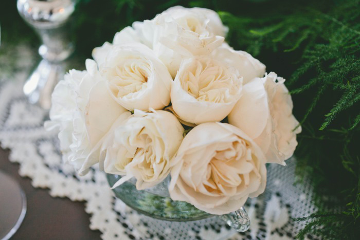 white garden rose centerpiece
