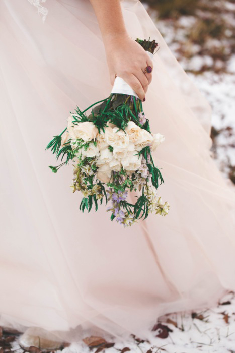 rose and lavender wedding bouquet