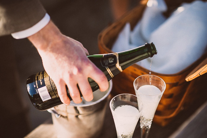 pouring champagne for wedding toast