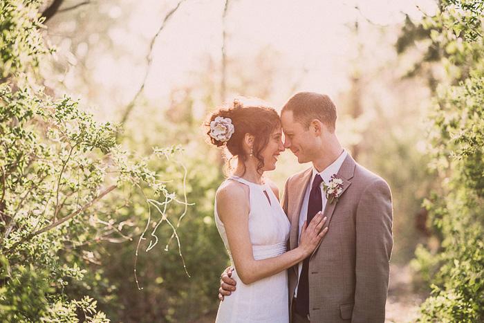 glowing light bride and groom portrait