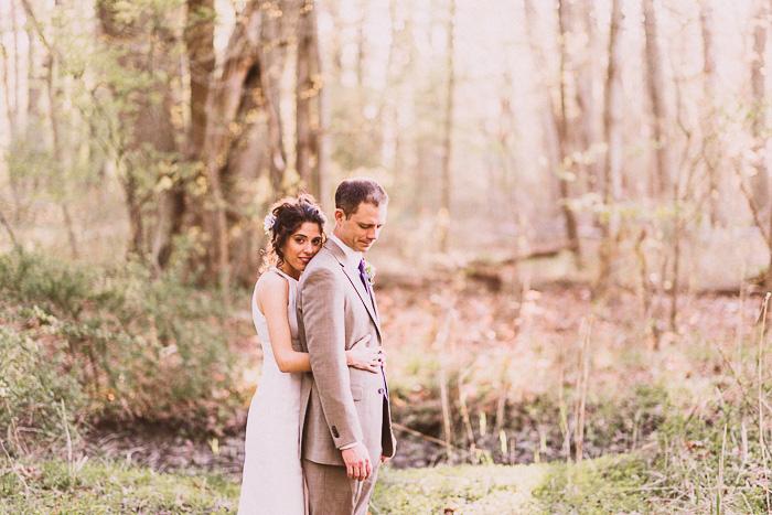 bride and groom woodland portrait