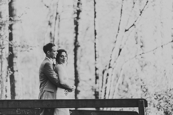 B+W woodland wedding portrait